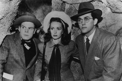 Tommy Bond as Jimmy Olsen, Noel Neill as Lois Lane, and Kirk Alyn as Clark Kent - 1948